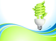 Lamp. Illustration of a CFL (compact fluorescent lamp) with green radiating light beams Royalty Free Stock Photography