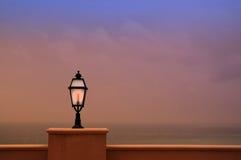 Lamp. On the balcony of a beach hotel in Taormina, Sicily royalty free stock photos