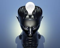 Lamp in 3D cyborg girl head Royalty Free Stock Photography