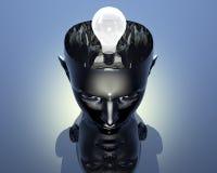 Lamp in 3D hoofd van het cyborgmeisje Royalty-vrije Illustratie