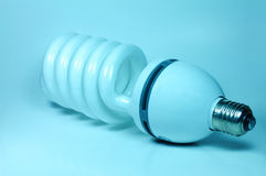 Lamp. An electric economic lamp on a bluebackground Stock Photography