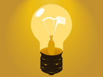 Lamp. Glow lamp on yellow background Stock Images