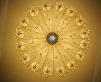 Lamp. Looking up to crystal chandelier in a hall royalty free stock photo
