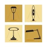 Lamp, aanstekende pictogrammen Stock Afbeelding