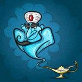 Lamp Aladdin with gin, the magic lamp. Of Aladdin.vector illustration Stock Photos