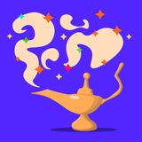 Lamp Aladdin with gin, the magic lamp of Aladdin. Flat design, vector illustration. Lamp Aladdin the magic lamp of Aladdin. Flat design, vector illustration stock illustration