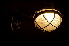 Light inside of ship. Lamp, an architectural detail inside of ship Averof, Athens, Greece Royalty Free Stock Photos
