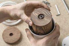 Lamp assembling in workshop Royalty Free Stock Image