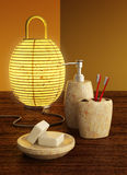 Lamp and bathroom accessories Stock Photography