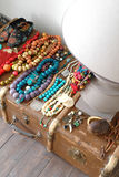 lamp, beads and old suitcase Stock Photography