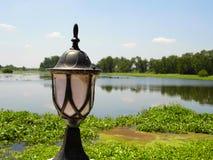 Lamp bij het meer stock foto's