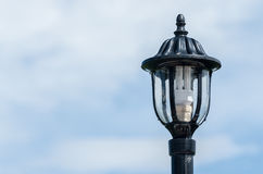 Lamp. Black lamp on outside with sky Stock Photos