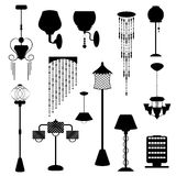 Lamp in black shape vector set on white background Stock Image