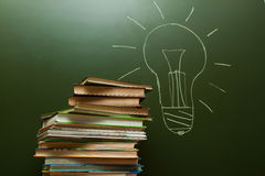 Lamp on blackboard Royalty Free Stock Photo