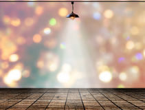 Lamp in bokeh background  with Wood plank floor Stock Image