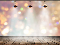 Lamp in bokeh background  with Wood plank floor Royalty Free Stock Photo