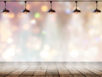 Lamp in bokeh background  with Wood plank floor Stock Photo