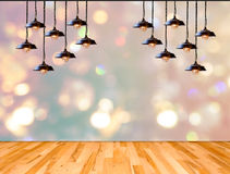 Lamp in bokeh background  with Wood plank floor Stock Images