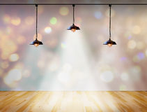 Lamp in bokeh background  with Wood plank floor Royalty Free Stock Image
