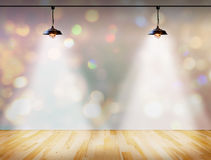 Lamp in bokeh background  with Wood plank floor Royalty Free Stock Photos