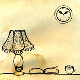 Lamp, book and cup on the table. Hand drawn Royalty Free Stock Photography