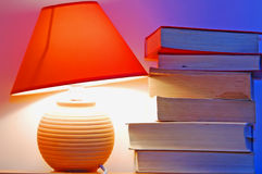 Lamp and books Stock Photography