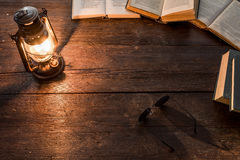 Lamp and books Royalty Free Stock Photos