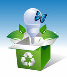 Lamp-in-box-with-leaves-and-butterfly Royalty Free Stock Images