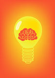 Lamp And Brain orange icon Royalty Free Stock Photography