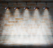 Lamp at brick wall background with glass floor Stock Photo