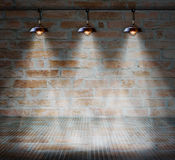Lamp at brick wall background with glass floor Stock Photography
