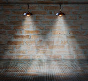 Lamp at brick wall background with glass floor Royalty Free Stock Photography