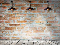 Lamp at brick wall background with ground wood Stock Image