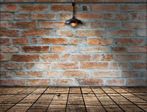 Lamp at brick wall background with ground wood Stock Images
