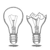 Lamp Bulb Hand Draw Sketch. Vector Royalty Free Stock Image