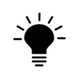 Lamp bulb icon. Black and white lightbulb silhouette. Flat  stock illustration Stock Photography