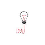 Lamp bulb isolated over white background with handwritten letter Stock Photo