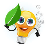 Lamp bulb light leaf cartoon character smile happy mascot face vector illustration Stock Image