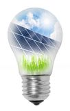 Lamp bulb with solar panels. Conceptual image. Environmental metaphor Stock Images