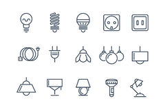 Lamp and bulbs line vector icons set. Electrical Stock Photography