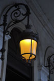 Lamp burning in the night in Paris royalty free stock photo
