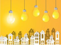 Lamp Business on yellow background and urban Success modern Idea and Concept. Vector illustration Stock Images
