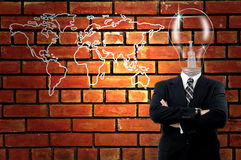 Lamp Businessman with world map Stock Images