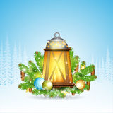 Lamp with candles stand on snowy fir tree branches. Christmas glossy element on forest background. Lamp with candles stand on snowy fir tree branches. Christmas Royalty Free Stock Photo