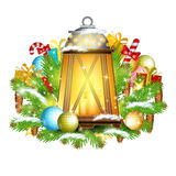 Lamp with candles stand on snowy fir tree branches with presents. Christmas glossy element on white Stock Photo