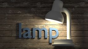 Lamp card for learning english word - a single word with a corresponding object to help in study and remembering basic words. Close up, 3d illustration royalty free illustration
