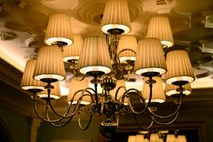 Lamp on the ceiling - construction in Vilnius city Stock Photo