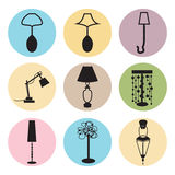 Lamp, chandelier. Colorful icons stock illustration