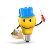 Lamp character - Handyman. 3d illustration Stock Images