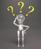 Lamp character has no answers Royalty Free Stock Photography